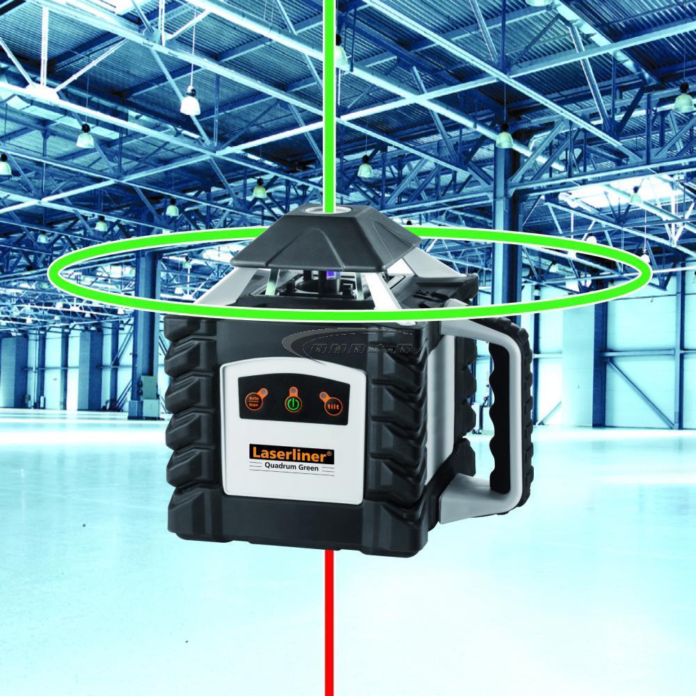 Зелен ротационен лазер Quadrum Green 410 S в комплект с тринога с манивела и  телескопична лата 5 м 4