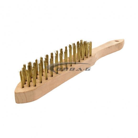 Ръчна телена четка с дървена дръжка от права месингова тел в 4 реда
