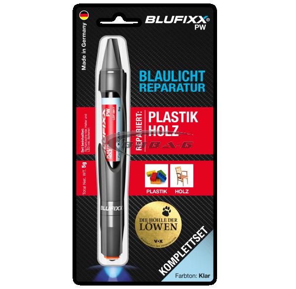 UV ремонтен гел BLUFIXX PW за пластмаси и дърво, прозрачен, 5гр, комплект със светодиод