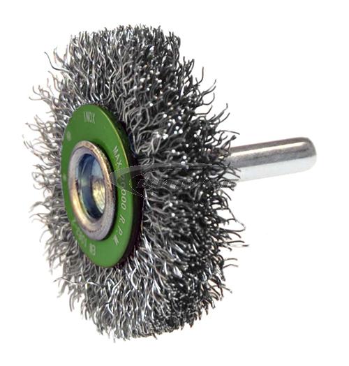 Телена дискова четка за бормашина/прав шлайф от гофрирана неръждаема тел 70х6