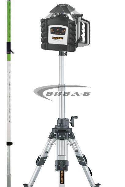 Зелен ротационен лазер Quadrum Green 410 S в комплект с тринога с манивела и  зелена рейка