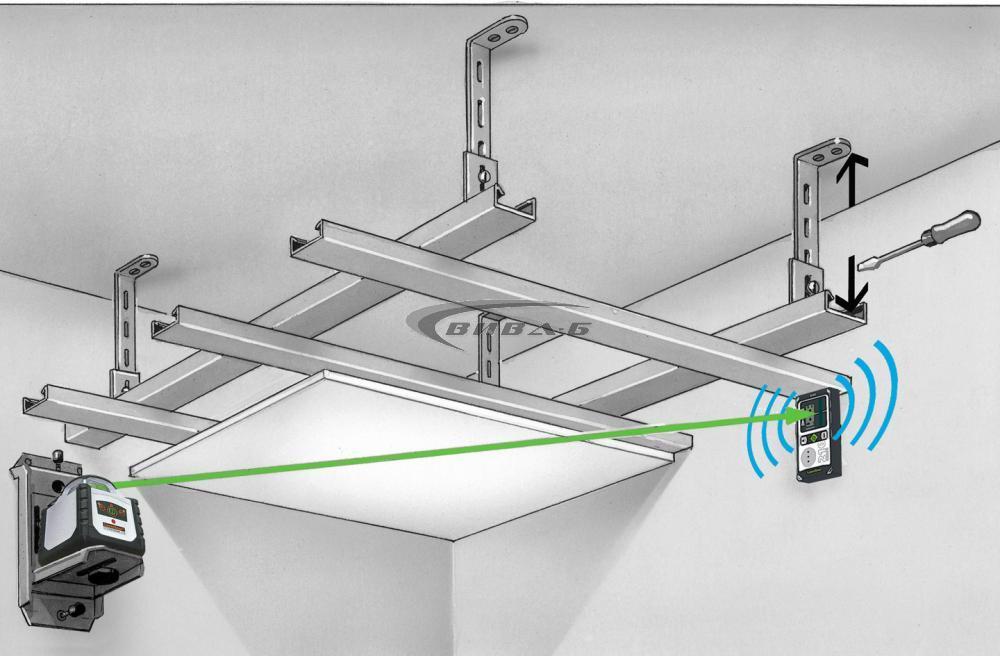 Зелен ротационен лазер Cubus G 210 S в комплект със статив 150 см и телескопична нивелираща лата LT 4м 16
