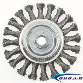 Телена дискова четка за ъглошлайф от усукана стоманена тел 125х12xM14