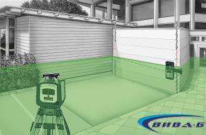 Зелен ротационен лазер Cubus G 210 S в комплект със статив 150 см и телескопична нивелираща лата LT 4м 12