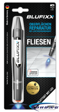 UV ремонтен гел BLUFIXX за плочки, мрамор, гранит, бял, 5гр, комплект със светодиод