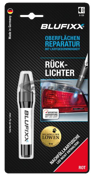 UV ремонтен гел BLUFIXX за автомобилни стопове, червен, 5гр, резервен пълнител