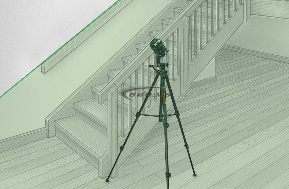 Зелен линеен лазер X1-Laser комплект с тринога FixPod 155 cm 2