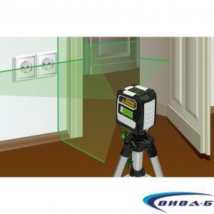 Зелен линеен лазерен нивелир CompactCross-Laser Pro Set 6