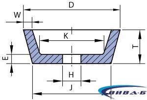 Абразивен диск БЯЛ форма F11 100/71х40х20x8x10x56 22A60 1