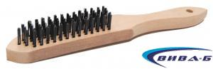 Ръчна телена четка с дървена дръжка от права стоманена тел в 5 реда